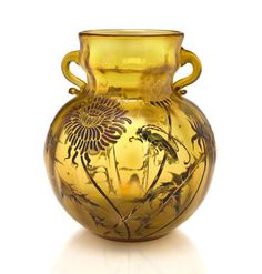 A Gallé enameled cameo glass two-handled Dandelion and Grasshopper vase circa 1900