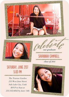 Sparkly Frames - #Graduation Invitations - Petite Alma - Chenille Pink #grad