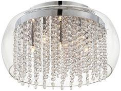 "Possini Crystal Rainfall Glass Drum 17"" Ceiling Light Possini Euro Design http://www.amazon.com/dp/B005NYXYTM/ref=cm_sw_r_pi_dp_nG9tub05X9BHY   For the Foyer"