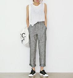 Grey draw string linen