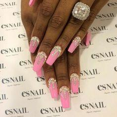 Pink nails dripping in rhinestone nailart #nailart #nails #pink #rhinestone