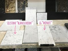 "tips for choosing quartz kitchen countertops / Silestone ""Blanco Orion"" vs. LG ""Minuet"""
