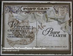 Stampin' on the Prairie: Peace On Earth Christmas Card, Stampin' Up!, Calm Christmas, World Map, Post Card stamp sets