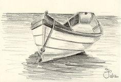 Pencil Drawings of Boats | Boat on Water 4x6 Pencil Study by jamiepbruno on Etsy
