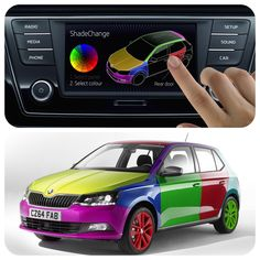 pretty in pink or simply seeing red change the colour your car at the touch of button world's first 'on the move' colour-change system ŠKODA ShadeChange™ World Of Color, Pretty In Pink, Cool Cars, Color Change, Favorite Color, Hue, Fun Stuff, Smartphone, Presents