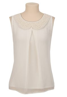 Sleeveless Pleat Front Pearl Collar Top | $29.00 #Maurices