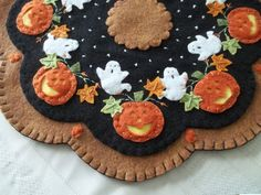 "Primitive Penny Rug  ""Ghosts and Pumpkins"" Candle Mat w/free shipping!"