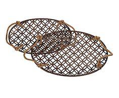 Set de 2 bandejas con asas de cuerda