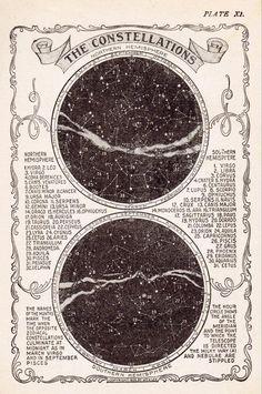 Vintage Star Chart, Constellation Map, Vintage Art Print, Star Map Vintage Print, Constellation Prin The Vintage Prints, Map Vintage, Vintage Star, Vintage London, Vintage Images, Vintage Music, Vintage Ideas, Vintage Wall Art, French Vintage