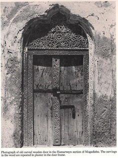 Old carved wooden door in Hamarweyn district of Mogadishu, Somalia. via nomadamsterdam Tumblr blog