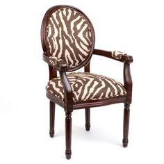 Chocolate Zebra Arm Chair | Kirkland's