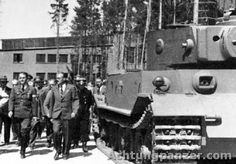Albert Speer,Ferdinand Porsche and a Porsche pre-production Tiger.In July of 1942, Henschel Tiger – VK 4501(H) was approved and went into production. Only five Tiger(P) were fully completed in July of 1942 by Nibelungenwerke with armored parts supplied by Krupp, before the production was stopped in August of 1942 (chassis number 150001-150010). Even before even the rejection of Tiger(P)'s design production of 90 pre-production VK4501(P) chassis started.