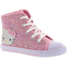 Hello Kitty HK Lil Lacie (Girls' Infant-Toddler-Youth) ($40) ❤ liked on Polyvore featuring shoes, pink, hello kitty, lace shoes, lacy shoes, hello kitty footwear and hello kitty shoes