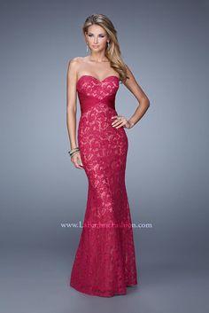 La Femme 20440 Lace Prom Gown cranberry