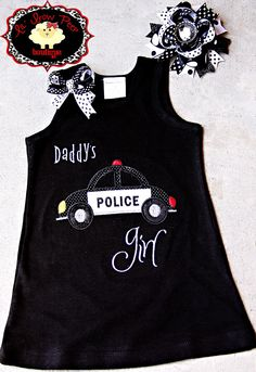 Police Car Daddy's Girl Dress and Bow Set. $32.00, via Etsy.