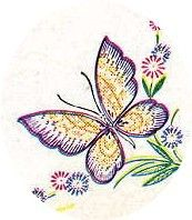 Vogart 202 Butterflies & Flowers for Table Clothes and Vanitys. A 1950s hand embroidery pattern.