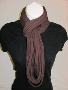 Chocolate Brown T shirt Infinity Scarf
