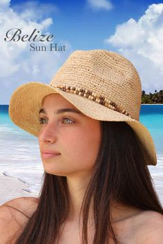 Palms & Sand Belize Raffia Womens Sun Hat
