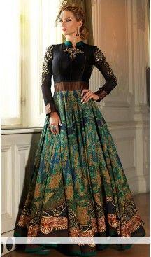 Black Silk Long Anarkali Stitched Churidar Suit with Dupatta | FH459771812 #designs, #anarkali #churidaar, #suits, #salwar, #kameez, #online, #shopping, #dupatta