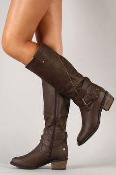 Daland-2-U Zipper Buckle Riding Knee High Boot