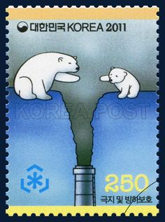 Preserve the Polar Regions and Glaciers Special Stamps, Polar Crisis, Sky blue , white , 2011 06 03, 극지 및 빙하 보호 특별우표, 2011년 6월 3일, 2799, 위기의 북극곰, postage 우표