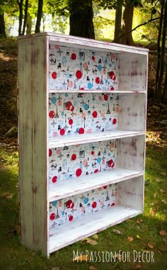 My Passion For Decor: Paris Inspired Bookshelf. Chalk Paint™ by Annie Sloan, Emperors Silk and Pure White. Bookshelf backing is upholstered in batting and fabric