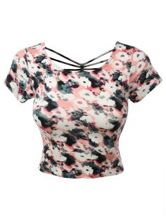LE3NO Womens Fitted Floral Crop Top with Cross Strap Back