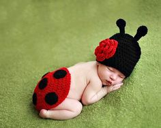 free ladybug crochet pattern photo prop | Fashion Ladybug Baby Boy Newborn Knit Crochet Clothes Photo Prop ...