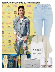 """""""Teen Choice Awards 2015 with Nash"""" by irish26-1 ❤ liked on Polyvore featuring Topshop, MANGO, Converse, Chanel, Ray-Ban, Marc Jacobs, Maybelline, NARS Cosmetics and plus size clothing"""