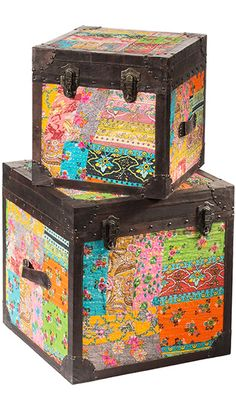 """DIY This is a good DIY project if you have old suitcases or small """"trunks"""" with pictures of dogs, cats, etc. (1980's style!) and want to update them! Paint and decoupage! :) Set of 2 embroidered square blanket boxes"""