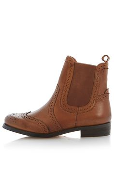 **Poppi Brogue Detail Chelsea Boots by Bertie - Shoes- Topshop