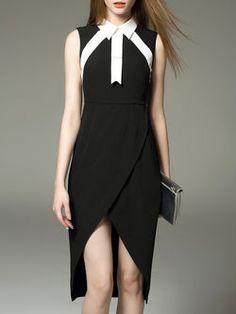 Black Color-block Sheath V Neck Casual Midi Dress
