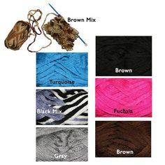 Ruffle yarn 4 skeins. Solid and mixed colors. Brown by JeAdore, $14.99