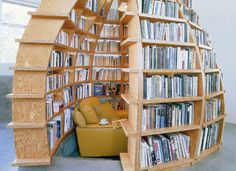 The shelves are double-loaded, with books on the outside as well as in, which has the added benefit of significant acoustic insulation providing you with a very intimate space for you to relax and enjoy your favourite book.