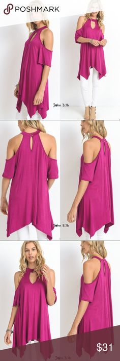 Asymmetrical tunic Arrives Friday - Vibrant magenta chic tunic with cold shoulders and asymmetrical hem. Lightweight- 95%rayon 5%spandex Boutique Tops Tunics