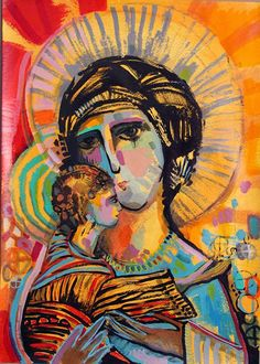 It can be printed on paper, fabric, canvas or on the surface of your choice. Made by Claudia Talavera / Painting Virgins. Catholic Art, Religious Art, St John's Bible, Virgin Mary Art, Holy Art, Heaven Art, Images Of Mary, Christian Artwork, Spiritus