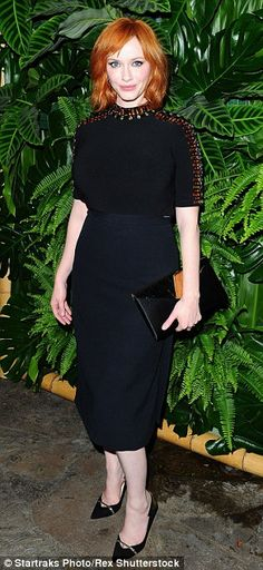 Alluring: Christina Hendricks exuded charm in a two-piece outfit while Jaime King went com...