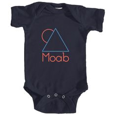 Moab, Utah Minimal Mountain Sun in Red/Blue - Infant Onesie/Bodysuit
