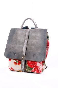 Sac à dos fleuri toile et cuir sac à dos... Petit sac par RuthKraus