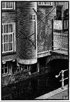 Voldersgracht, Delft - 1939 - Woodcut - M.C. Escher