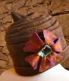Brown Funky Flower Hat by Alpacalindy on Etsy, $125.00