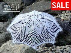 SALE 30 White Diamond Lace Crochet UMBRELLA PARASOL