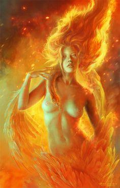 Phoenix Picture (2d, fantasy, flame, fire, phoenix, woman, wings)