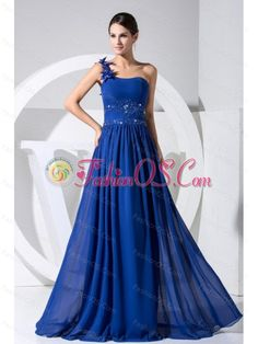 One Shoulder Beading and Hand Made Flowers Decorate Bodice Blue Chiffon Beaituful Prom Dress For 2013- $144.48