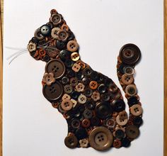 Stunning and unique cat artwork made out of different shades of brown buttons on a linen effect backdrop. available on button gems facebook page for £35 framed in a 8x8 inch 3d box frame. Available on Etsy https://www.etsy.com/uk/your/shops/ButtonArtByGemma/tools/ButtonArtByGemma/uk/listings/view:table,stats:true/231651737