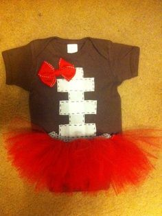 Football baby onesie and tutu.  This would be so cute w/Garnet instead of red. Go COCKS! Little Babies, Little Ones, Cute Babies, Cute Kids, My Little Girl, Funny Babies, Baby Love, My Baby Girl, Our Baby