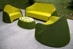 This olive green furniture for outdoors designed by Solovyov Design adds a bold  statementt to an outdoor space.