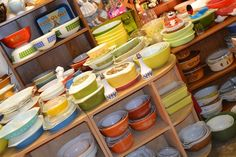 I don't know where this is, but when I see a booth like this at an antique store, I get giddy and bouncy. #pyrex.