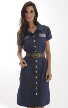 moda evangelica vestido jeans com botoes