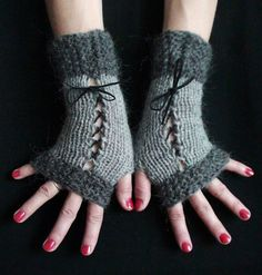 Items similar to Fingerless Gloves Corset Wrist Warmers in Light and Dark Grey with Black Suede Ribbons Victorian Style on Etsy Fingerless Mitts, Wrist Warmers, Crochet Accessories, Victorian Fashion, Light In The Dark, Hand Knitting, Corset, Handmade Gifts, Bad Mood